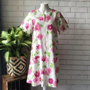 Raza | Vintage Floral Dress Front Zip Pockets